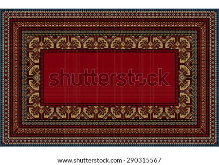 Bright pattern of the carpet with motley border and a red center in the old style - stock vector