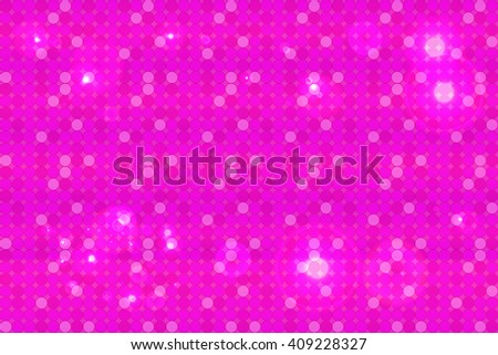 Bright pink background image with a round pixel grid, flares and flashes. Vector illustration. For use in printing, flyer design, wallpaper, presentations.  - stock vector