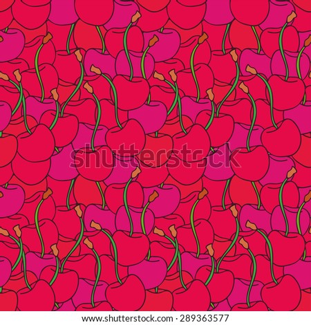 Bright pink cherry doodle summer pattern. Vector illustration can be used for backgrounds, web design, surface textures and other crafts. - stock vector