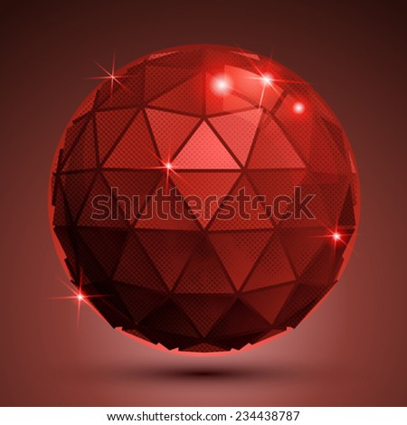 Bright pixilated dimensional sphere with flash, red sparkling 3d geometric object. - stock vector