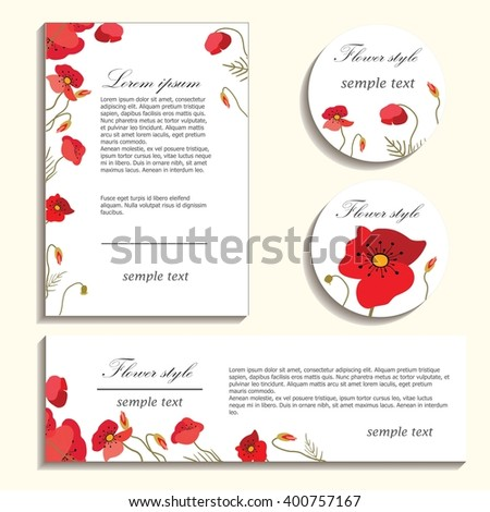 Bright poppies on a light background. Flower illustration for greeting cards, invitations and congratulations. The composition of colors is suitable for printing on paper, cloth and other items. - stock vector
