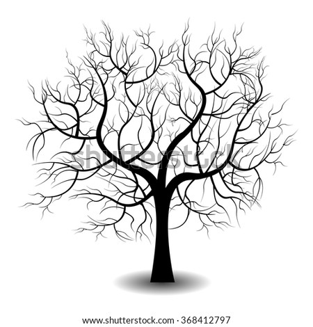 Bright pretty color vector graphic illustration of one growing bare black tree on white background - stock vector