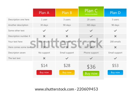 Bright pricing table with one recommended plan - stock vector