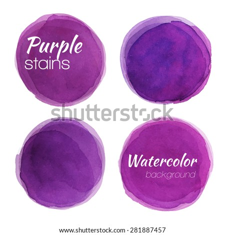 Bright purple watercolor painted vector stains set - stock vector - stock vector
