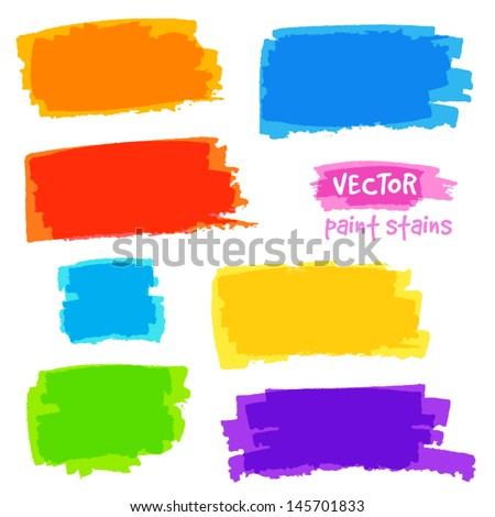 Bright rainbow colors vector pain spots set - stock vector
