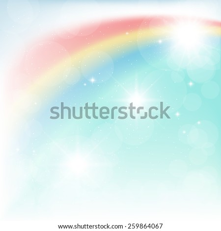 bright rainbow in the blue sky - stock vector