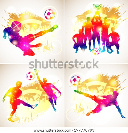 Bright Rainbow Silhouette Soccer Players, Goalkeeper, Team Champion with Cup, Fans on grunge background, vector illustration - stock vector