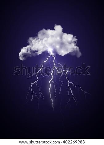 Bright realistic transparent vector lightning. Dark blue thunderstorm sky illustration. - stock vector