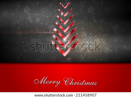 Bright red fir-tree christmas background. Vector design - stock vector