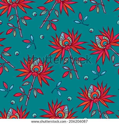 Bright red flowers on turquoise background. Seamless colorful floral vector design. Colorful exotic pattern. - stock vector