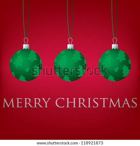 Bright red Merry Christmas bauble card in vector format. - stock vector