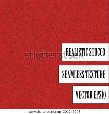Bright red stucco vector seamless texture. Seamless texture for design and visualization. - stock vector