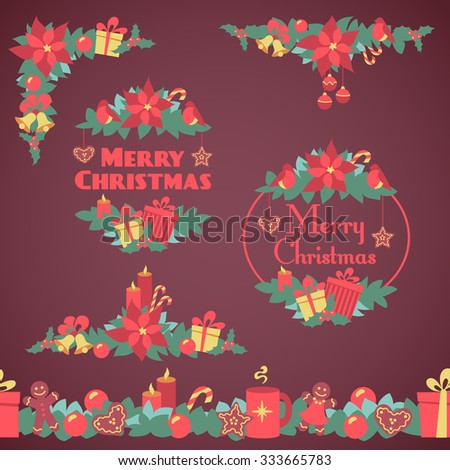 Bright retro flat christmas decorations, seamless border, corner,frames with xmas elements. - stock vector
