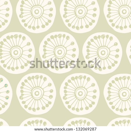 Bright rural seamless pattern. Fabric texture with decorative flowers. Background with circle ornamental texture - stock vector