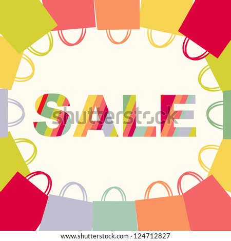 Bright Sale Poster With Bags, Isolated On White Background, With Gradient Mesh, Vector Illustration - stock vector