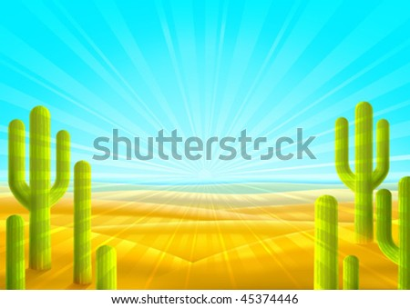 Bright sandy desert scenery with several green cacti (other landscapes are in my gallery) - stock vector