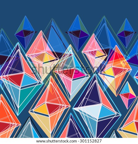 bright seamless abstract pattern of polygons on a blue background - stock vector