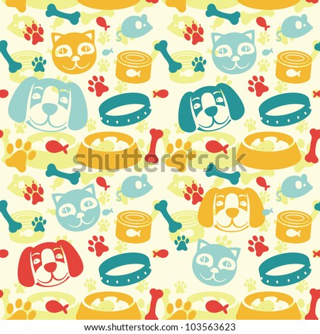 bright seamless pattern with funny cat and dog - vector illustration - stock vector
