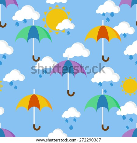 Bright seamless pattern with umbrellas in the rain, painted in the style of a children - stock vector