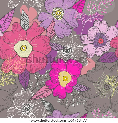 Bright seamless vector pattern with flowers - stock vector