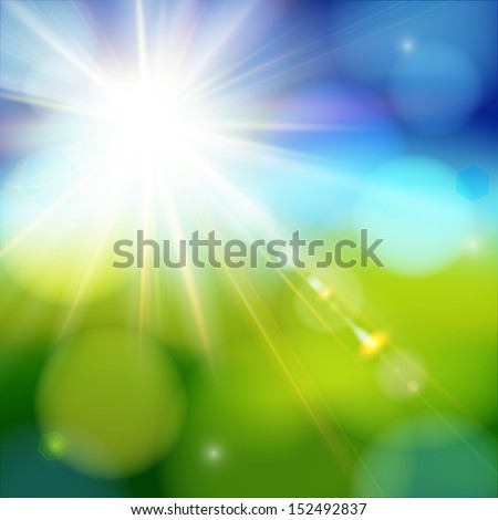 Bright shining sun with lens flare. Soft background with bokeh effect. Vector illustration. - stock vector