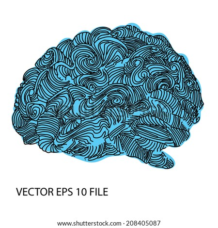 Bright sketchy doodles about brain - stock vector