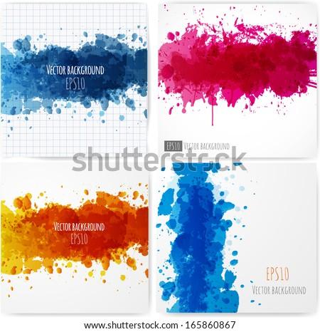Bright splashes on a white background. Vector illustration.  - stock vector