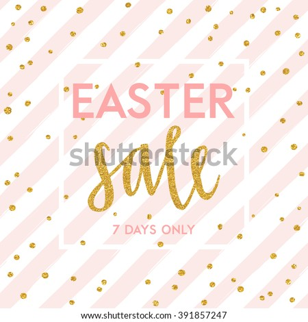 Bright spring easter sale design with gold confetti. Vector design - stock vector