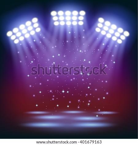 Bright stadium spotlights background - stock vector