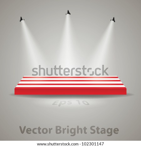 Bright stage with spot lights - stock vector