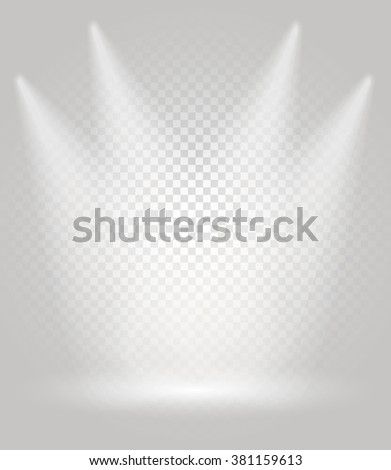 Bright stage with the spotlights. Transparent background - stock vector