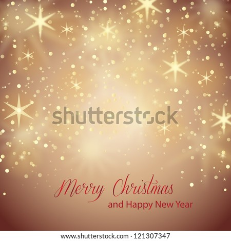 Bright Stars On Brown Background - Vector illustration. Light brown abstract Christmas background with golden stars - stock vector