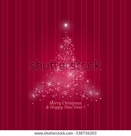 Bright Stylized Christmas Tree of Lights  on a Striped Pink Background, Merry Christmas and Happy New Year,  Vector Illustration - stock vector