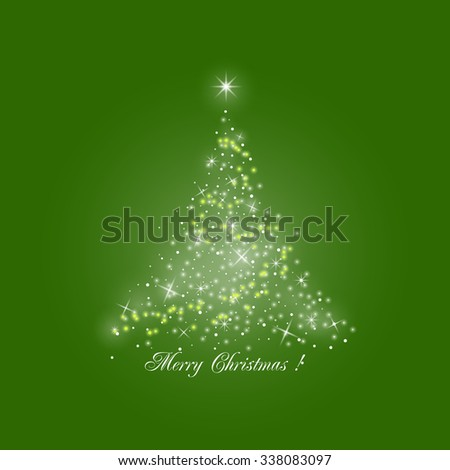 Bright Stylized Christmas Tree of Lights  on Green Background,  Merry Christmas , Vector Illustration - stock vector