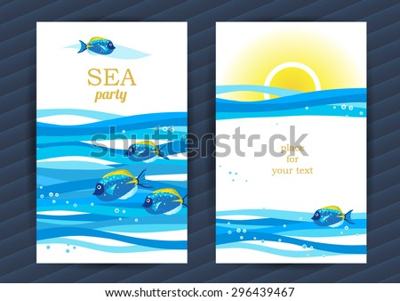 Bright Summer Holidays cards with sea elements. Sea pattern with fish and waves. Place for your text. Template frame design for banner, placard, invitation. Marine life vector background. - stock vector