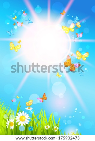 Bright summer sunshine day and butterflies. Vector seasonal illustration - stock vector