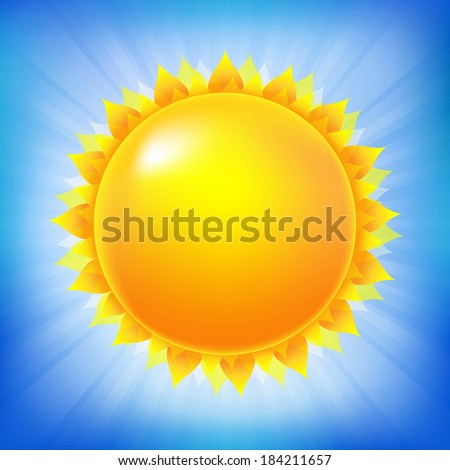 Bright Sun With Blue Sky, With Gradient Mesh, Vector Illustration - stock vector