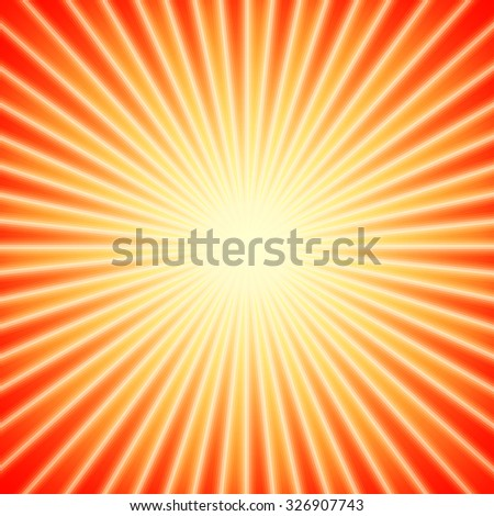 Bright sunbeams, shiny summer background with vibrant yellow & orange colors. Perfect light striped background. - stock vector