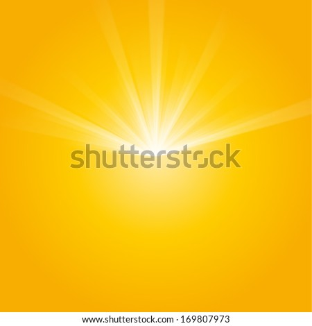 Bright sunbeams, shiny summer background with vibrant yellow & orange colors. Vector illustration. Perfect light striped background - stock vector