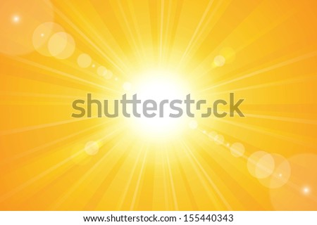 Bright sunny days sunset sky orange background for illustrations. - stock vector