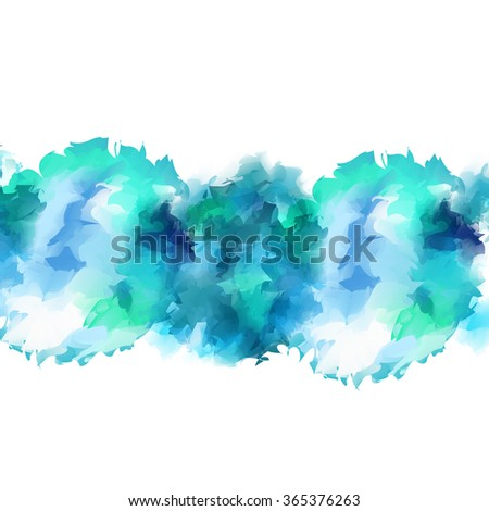 Bright swirling vortex of gentle turquoise watercolor flow of spot isolated on white background. - stock vector