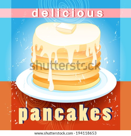 bright tasty pancakes on aged background with inscriptions   - stock vector