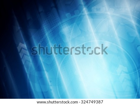 Bright tech motion vector background with arrows. Shiny glowing design - stock vector