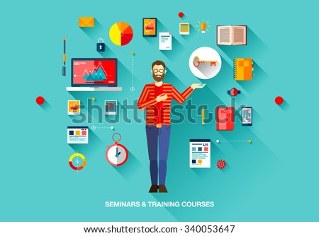Bright technology education set of flat concepts icons for training and courses with man with beard in sweater in business, finance, consulting, management, human resources, career, staff training - stock vector