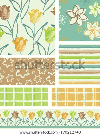 Bright Tulip Floral Vector Seamless Patterns. Use as fills, digital paper, or print off onto fabric to create unique items. - stock vector