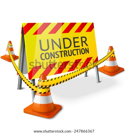 Bright Under Construction sign with orange stripped road cones and yellow caution tape. Vector - stock vector