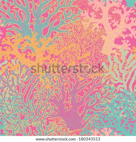 Bright underwater seamless pattern with beautiful corals. Stylish abstract seamless pattern in vector - stock vector