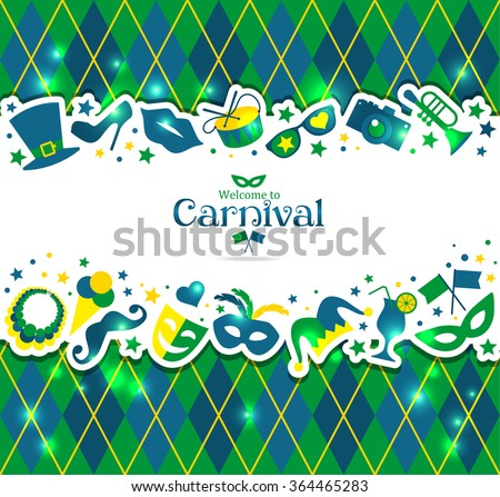 Bright vector carnival background and sign Welcome to Carnival  - stock vector