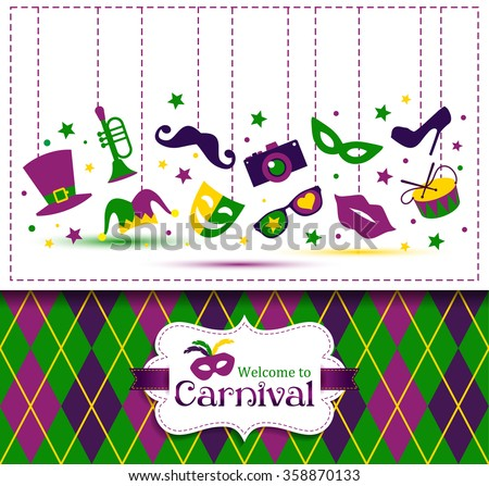 Bright vector carnival seamless texture and sign Welcome to Carnival - stock vector