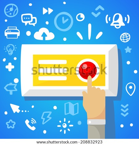 Bright vector illustration male hand presses the red button on a blue background with different financial application icons  - stock vector